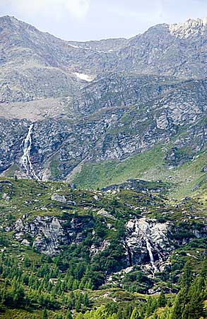 Cascading waterfalls in high alpine passes